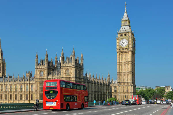 Westminster Bridge Photograph - London, Big Ben And Traffic On by Sylvain Sonnet