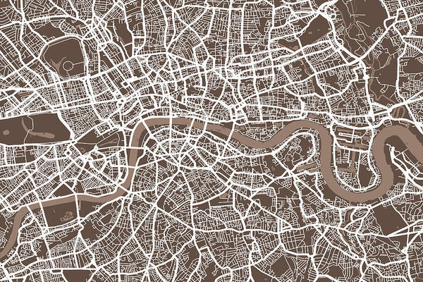 England Digital Art - London England Street Map by Michael Tompsett