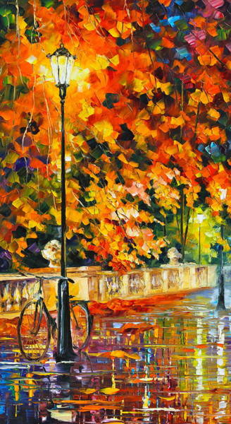 Wall Art - Painting - Lonely Bicycle  by Leonid Afremov