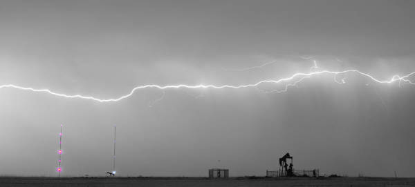 Photograph - Long Lightning Bolt Strike Across Oil Well Country Sky by James BO Insogna