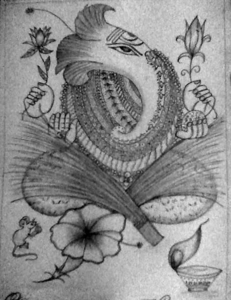 Singh Drawing - Lord Ganesha by Shreya Singh