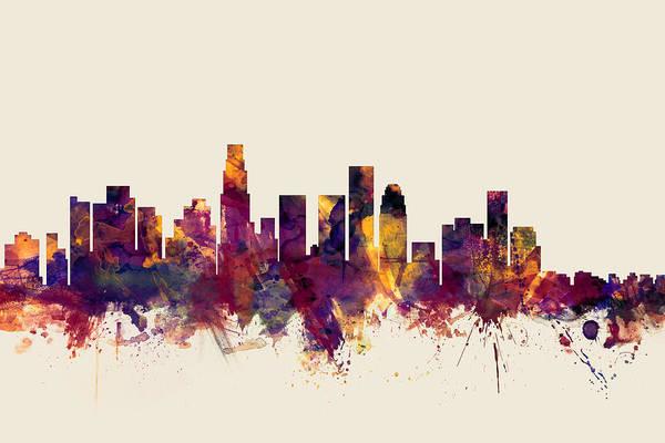California Digital Art - Los Angeles California Skyline by Michael Tompsett