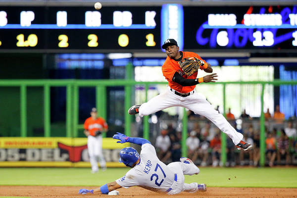 Miami Marlins Photograph - Los Angeles Dodgers V Miami Marlins by Rob Foldy