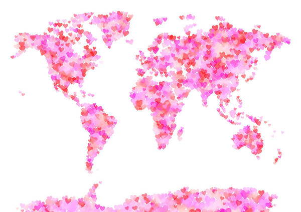 Wall Art - Digital Art - Love Hearts Map Of The World Map by Michael Tompsett