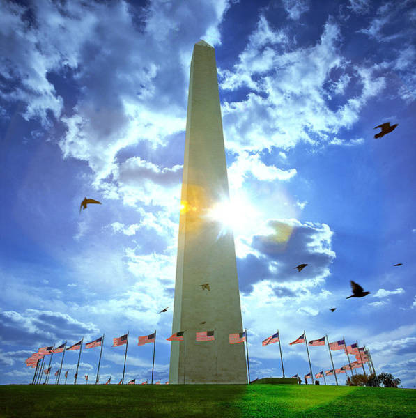 Flying The Flag Wall Art - Photograph - Low Angle View Of The Washington by Panoramic Images