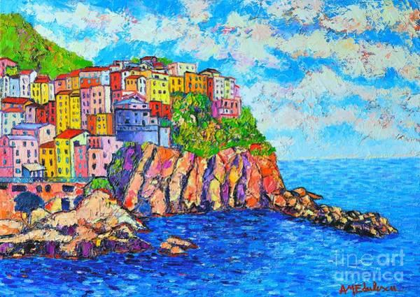 Painting - Manarola Cinque Terre Italy  by Ana Maria Edulescu