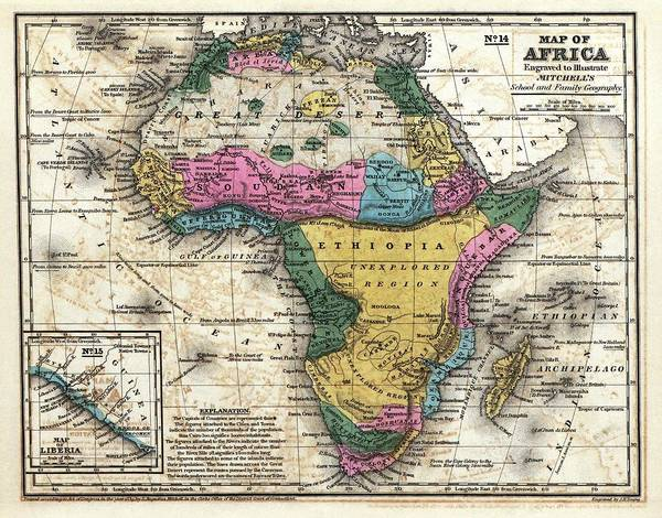 Geography Photograph - Map Of Africa by Library Of Congress, Geography And Map Division