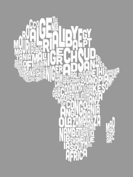 Text Map Digital Art - Map Of Africa Map Text Art by Michael Tompsett