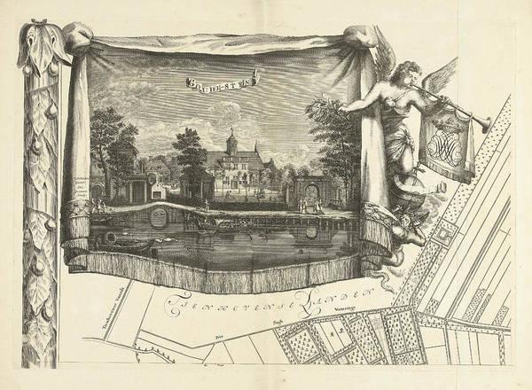 Allegorical Figure Drawing - Map Of The Heerlijkheid Maarsseveen, The Netherlands by Philibert Bouttats