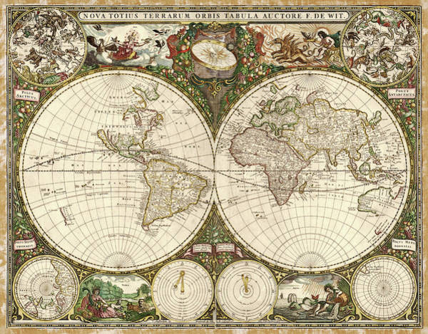 Geography Photograph - Map Of The World by Library Of Congress, Geography And Map Division/science Photo Library