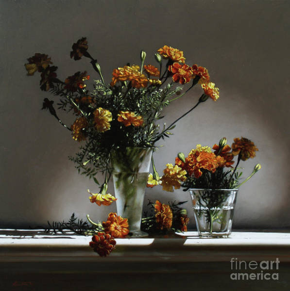 Wall Art - Painting - Marigolds  by Lawrence Preston
