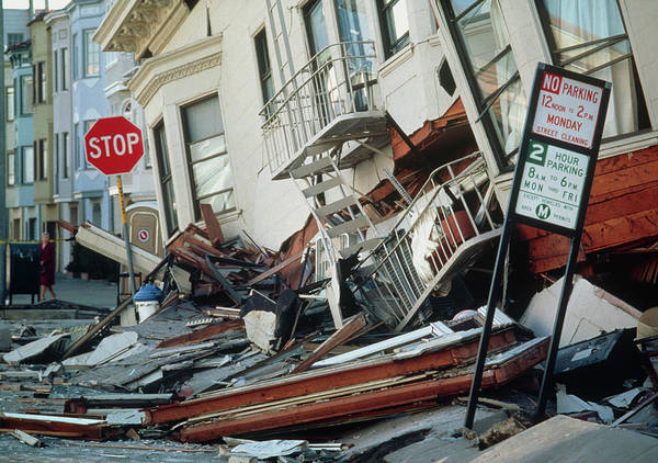Wall Art - Photograph - Marina District After The Californian Earthquake by Peter Menzel/science Photo Library