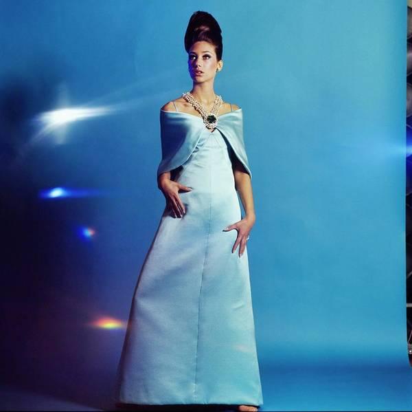 Blue Gown Photograph - Marisa Berenson Wearing A Blue Dress by Bert Stern