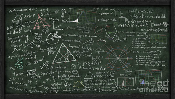 Equation Wall Art - Digital Art - Maths Formula On Chalkboard by Setsiri Silapasuwanchai