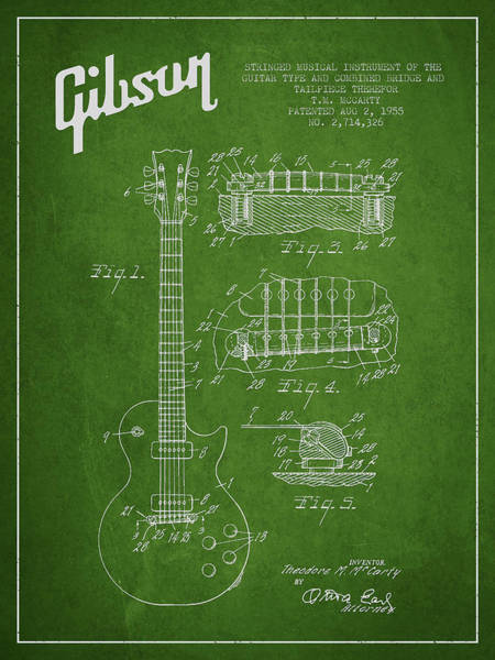 Wall Art - Digital Art - Mccarty Gibson Les Paul Guitar Patent Drawing From 1955 - Green by Aged Pixel
