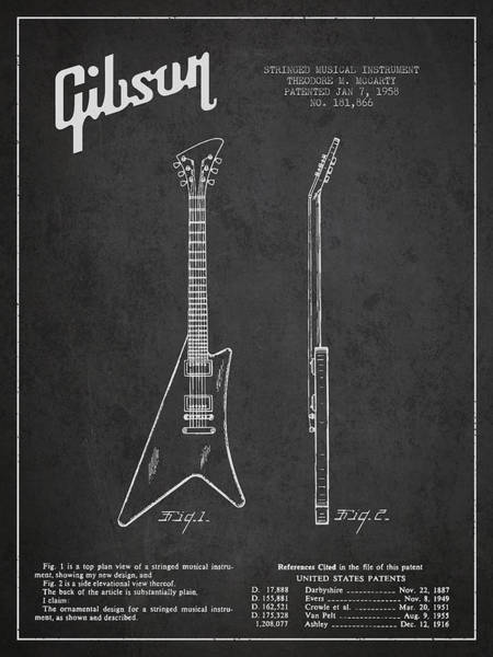 Bass Guitar Digital Art - Mccarty Gibson Stringed Instrument Patent Drawing From 1958 - Dark by Aged Pixel
