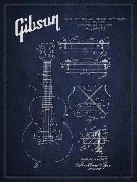 Wall Art - Digital Art - Mccarty Gibson Stringed Instrument Patent Drawing From 1969 - Navy Blue by Aged Pixel