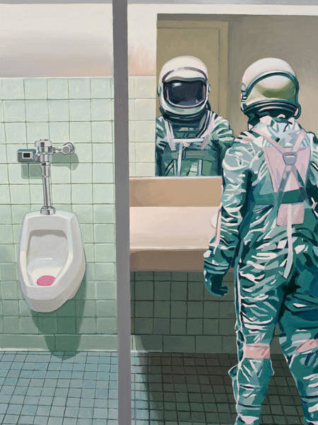 Science-fiction Wall Art - Painting - Men's Room by Scott Listfield
