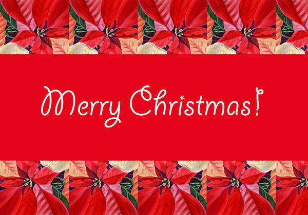 Christmas Card Painting - Merry Christmas by Irina Sztukowski