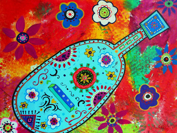 Prisarts Wall Art - Painting - Mexican Guitar by Pristine Cartera Turkus