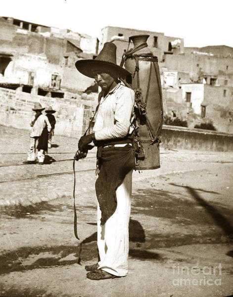 Photograph - Man With A Large Jug Mexico Circa 1902 by California Views Archives Mr Pat Hathaway Archives