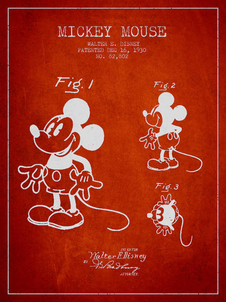 Wall Art - Digital Art - Mickey Mouse Patent Drawing From 1930 by Aged Pixel