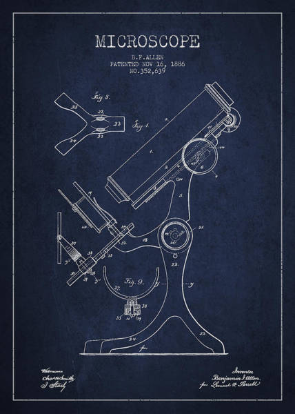 Wall Art - Digital Art - Microscope Patent Drawing From 1886 - Navy Blue by Aged Pixel