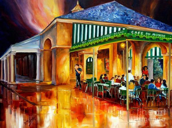 Crowds Wall Art - Painting - Midnight At The Cafe Du Monde by Diane Millsap