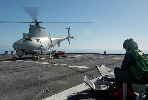 Checking Photograph - Military Helicopter Drone by Us Navy