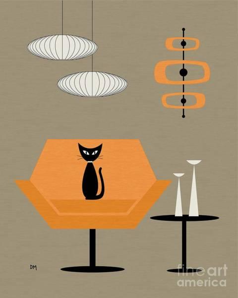 Digital Art - Mod Chair In Orange by Donna Mibus