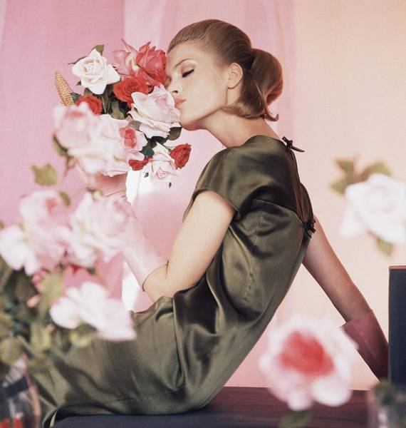 Wall Art - Photograph - Model Wearing Green Dress By Pauline Trigere by Horst P. Horst
