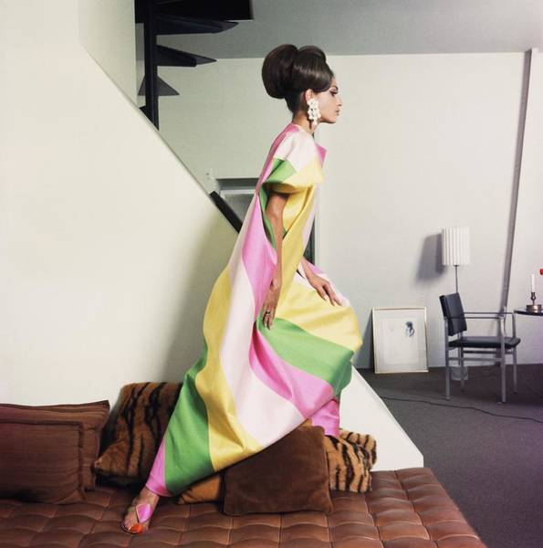 Brighter Side Photograph - Model Wearing Striped Dress By Lucie Ann by Horst P. Horst
