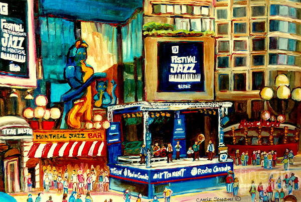 Wall Art - Painting - Montreal International Jazz Festival by Carole Spandau