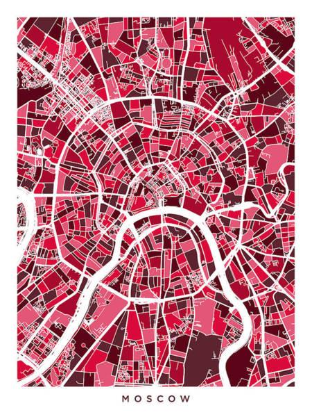 Wall Art - Digital Art - Moscow City Street Map by Michael Tompsett
