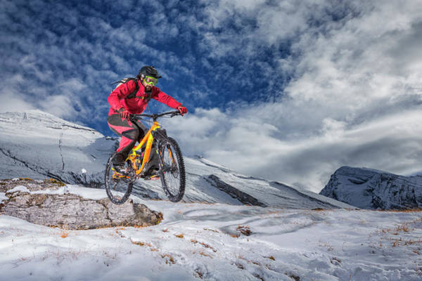 Ski Jumping Photograph - Mountain Bike Mtb In The Snow by Stefan Kuerzi