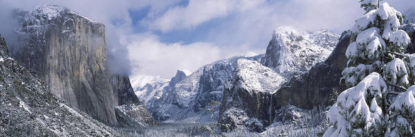 Dome Peak Photograph - Mountains And Waterfall In Snow, Tunnel by Panoramic Images