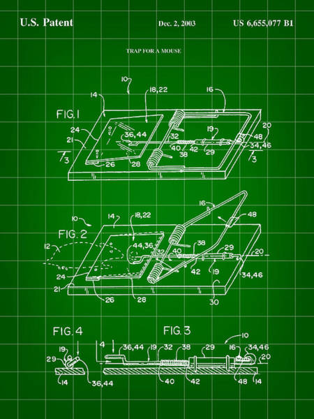 Conn Wall Art - Digital Art - Mouse Trap Patent - Green by Stephen Younts