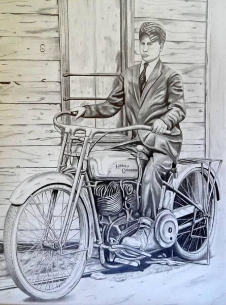 Wall Art - Drawing - My Grandpa's Harley by Charles Rogers