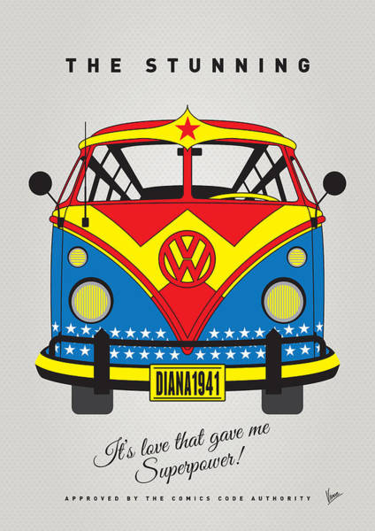 Volkswagen Wall Art - Digital Art - My Superhero-vw-t1-wonder Woman by Chungkong Art