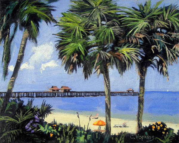 Flamingo Flower Wall Art - Painting - Naples Pier Naples Florida by Christine Hopkins