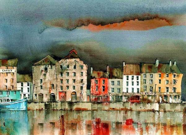 Mixed Media - New Ross Quays  Wexford by Val Byrne