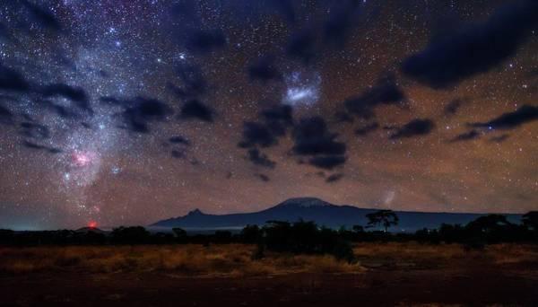 Wall Art - Photograph - Night Sky Over Mount Kilimanjaro by Babak Tafreshi