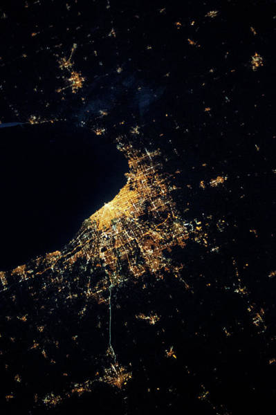 Iss Photograph - Night Time Satellite Image Of Chicago by Panoramic Images