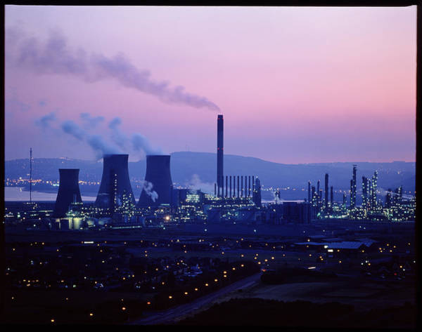 Petroleum Wall Art - Photograph - Night Time View Of A Bp Petrochemical Plant by Martin Bond/science Photo Library