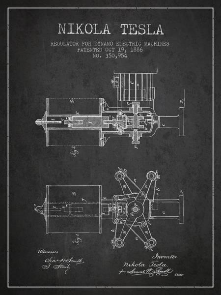 Electricity Digital Art - Nikola Tesla Patent Drawing From 1886 - Dark by Aged Pixel