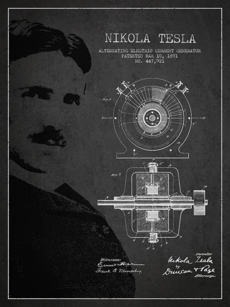 Intellectual Property Wall Art - Digital Art - Nikola Tesla Patent From 1891 by Aged Pixel