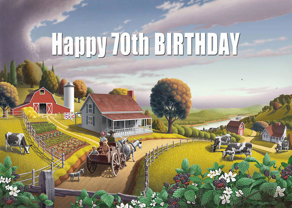 South Alabama Painting - no2 Happy 70th Birthday by Walt Curlee