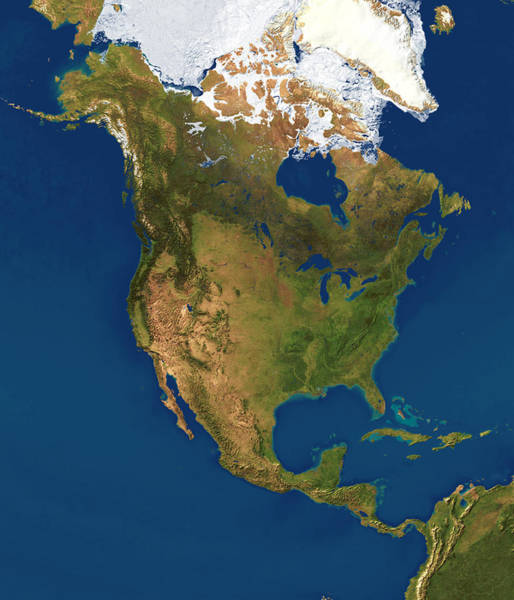 Gulf Of Alaska Photograph - North America by Planetary Visions Ltd/science Photo Library