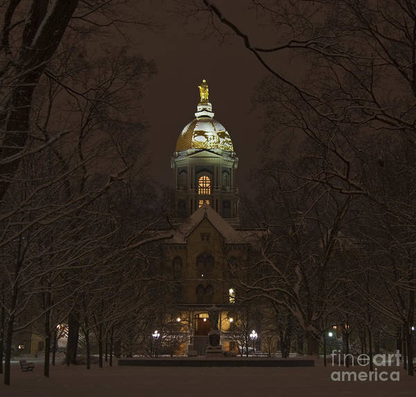Domes Wall Art - Photograph - Notre Dame Golden Dome Snow by John Stephens