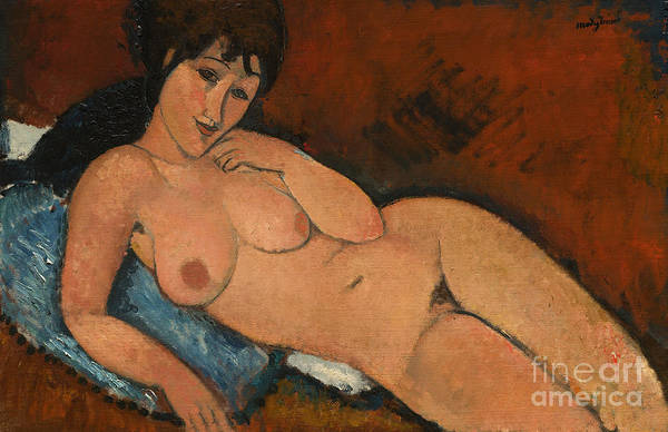 Nudity Painting - Nude On A Blue Cushion by Amedeo Modigliani